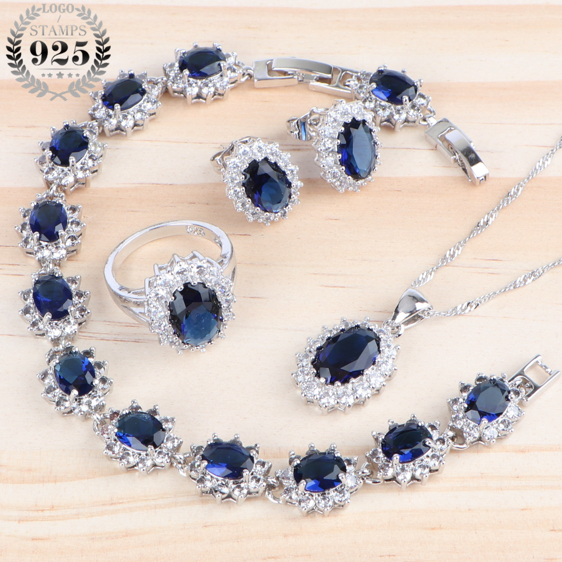 Wedding Necklace Jewelry Sets Bridal Zirconia Jewellery Silver 925 Rings Women Costume Bracelets/Earrings/Pendant Set Blue Stone