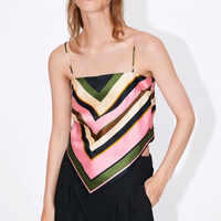 Frauen sexy striped print camis tank tops spaghetti-trägern ärmel zurück bogen krawatte shirts weibliche casual chic tops