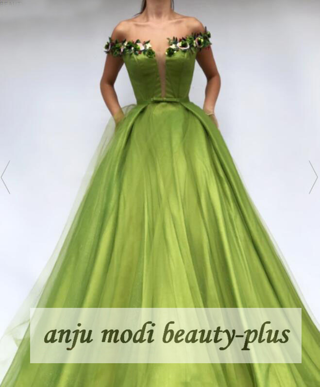 2020 Lime Long Off Shoulder Prom Dresses 3D Flowers Sleeveless Formal Evening Party Ball Gown Robe De Soiree