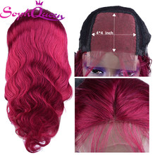 Soph Queen Hair 4*4 Lace Closure Human Hair Wigs With Baby Hair Brazilian Non Remy Body Wave Human Hair Wigs For Women(China)