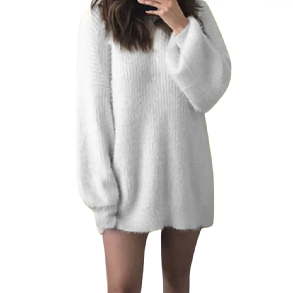 Jaycosin Fashion Women Solid O-Neck Loose Knitted Warm Loose Knitted Jumper Elegant Soft Chic Comfy Long Sleeve Cute Sweater