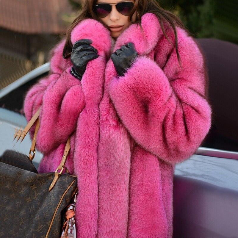 Tatyana Furclub Real Fur Coat Natural Fox Fur Coat For Women Jacket Girl  Winter Coat Girl Pink  O-neck Long Sleeve Street Style
