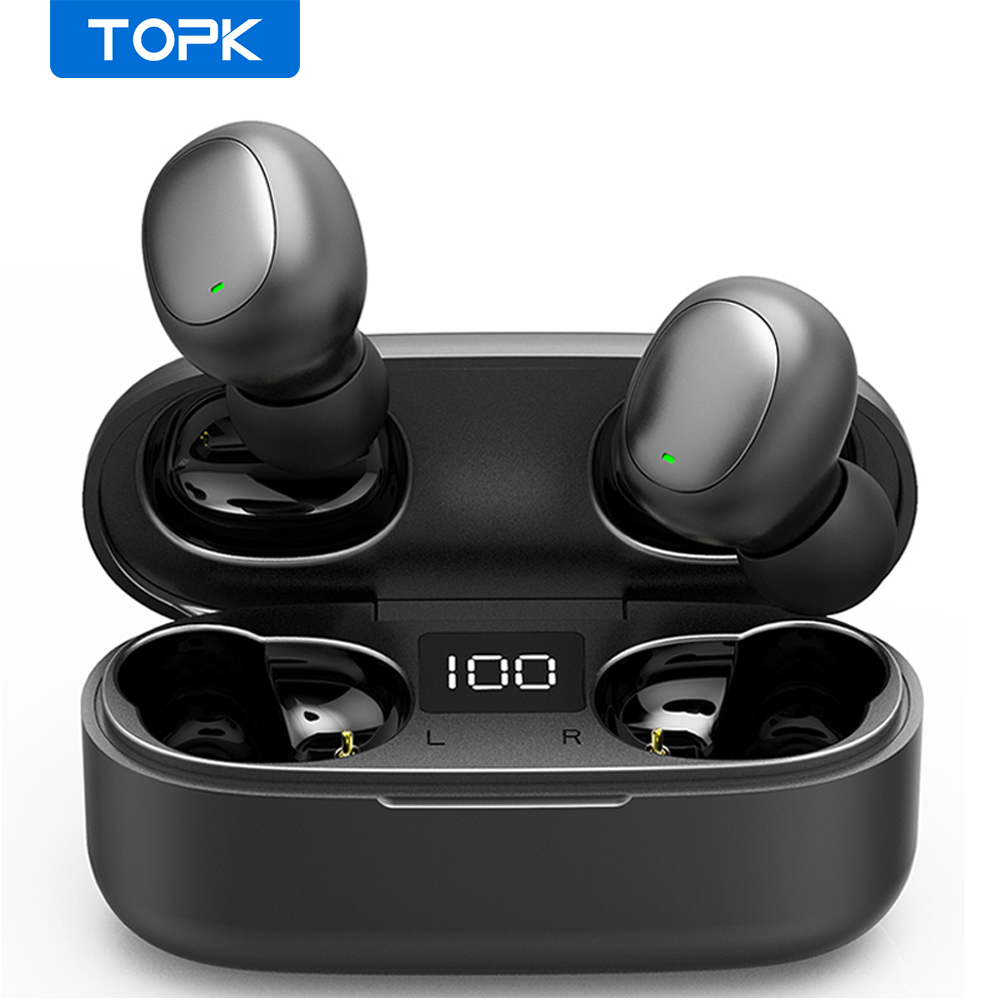 TOPK Mini Bluetooth Earphone HD Stereo Wireless Headphones gaming In ear sport headset With Mic Charging Box for smartphoneBluetooth Earphones & Headphones   -