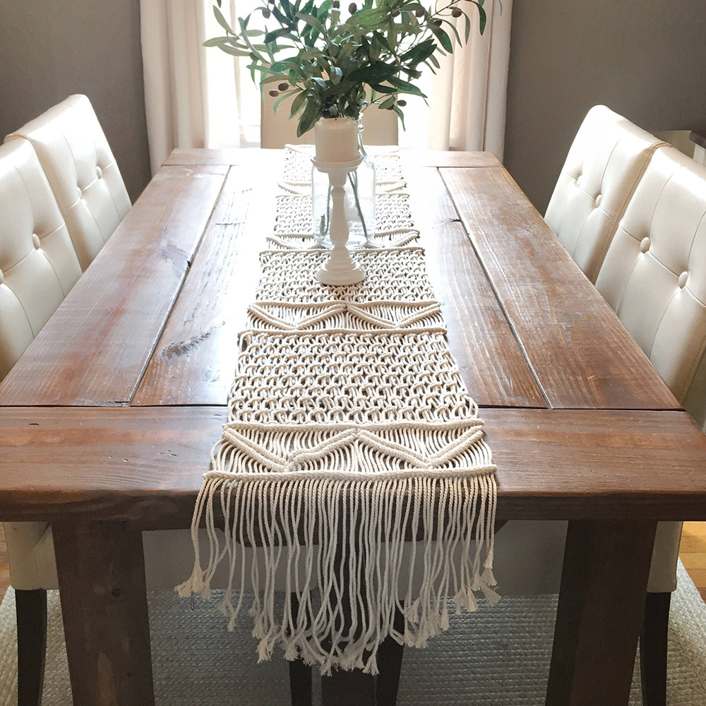 Macrame Table Runner Cotton Knitted Dining Table Decoration Tafelloper Boho Nordic Handmade Centerpiece Wedding Christmas Decor