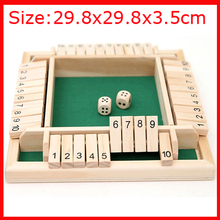 29.8x29.8x3.5cm Shut The Box Dice Board Game 4 Sided 10 Number Wooden Flaps & Dices Game Set for 4 Person Pub Bar Party Supplies