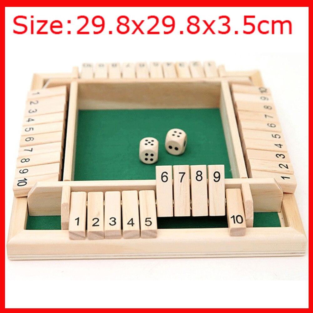 29.8x29.8x3.5cm chiudi la scatola dadi gioco da tavolo 4 lati 10 numeri alette di legno dadi gioco Set per Pub Bar forniture per feste gioco 2021