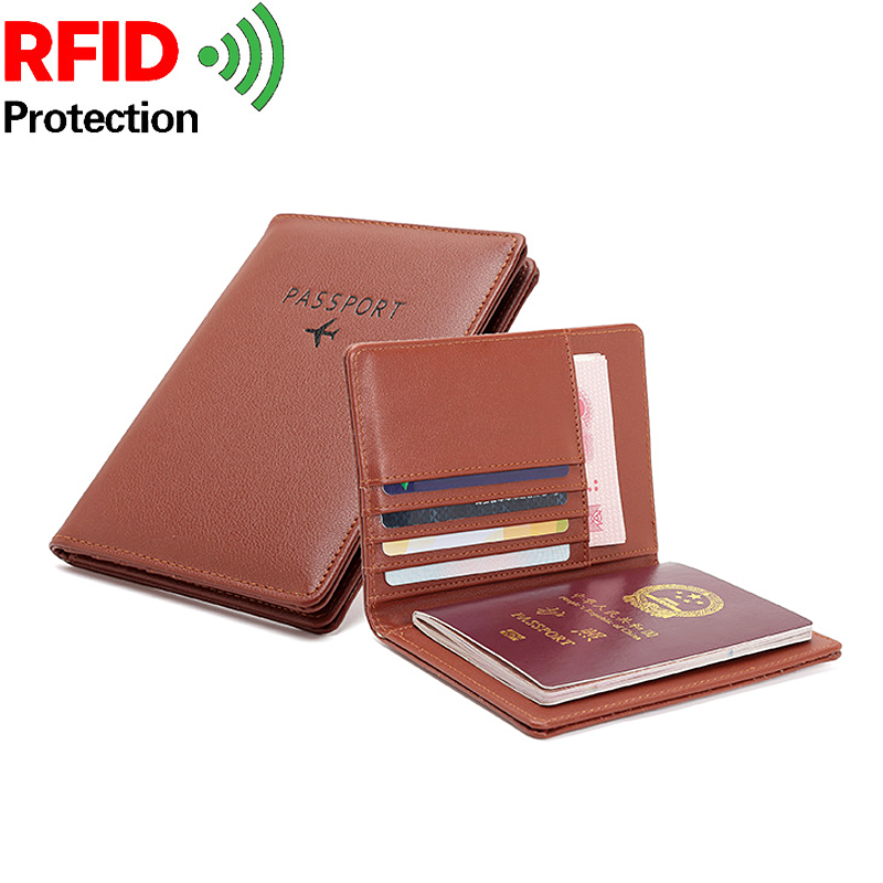 Good Quality Shielding Rfid NFC Passport Wallet Protect Credit Card Holders Multi-function Unisex Leather Travel Passport Covers