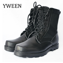 YWEEN Natural Wool Military Boots Men Warm Shoes Winter Mens PU Leather Work Cowboy Tactical Boot