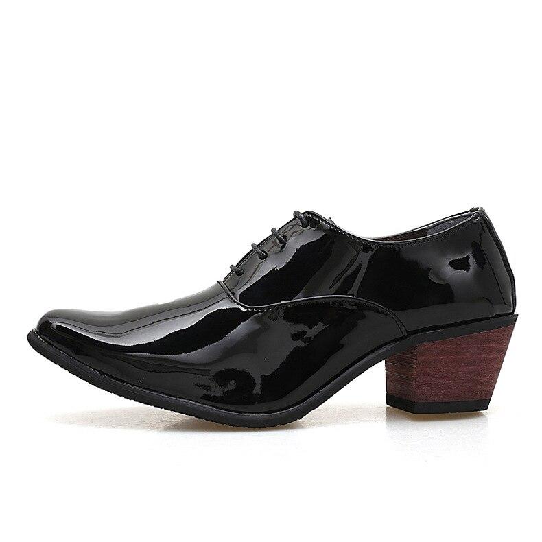 Hommes en cuir verni Oxford chaussures respirant bout pointu talons hauts formelle affaires bal robe de mode mariage marié chaussures erf4