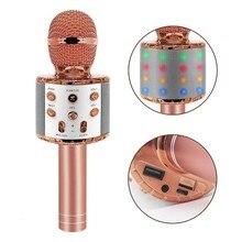 Ws858 L bezprzewodowy mikrofon do Karaoke głośnik Led na Bluetooth lekki ręczny śpiewanie i nagrywanie przenośny KTV na IOS/telefon z systemem Android
