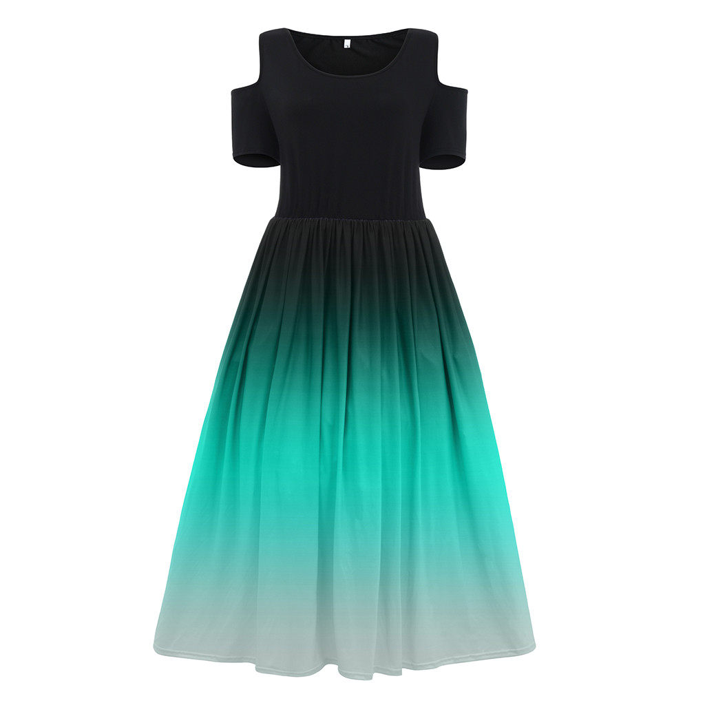 Sexy Off Shoulder Long Dress Women Casual Gradient Color Ball Gown Maxi Dress summer Elegant Slim
