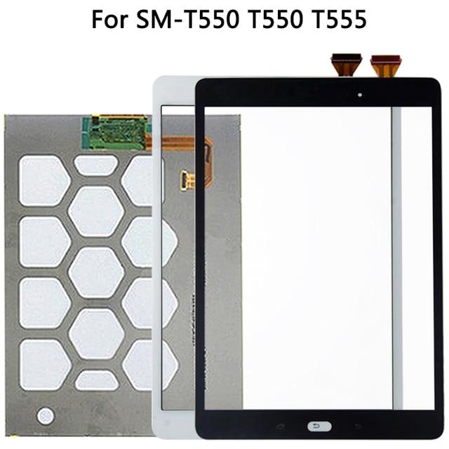 الأصلي لسامسونج غالاكسي تبويب E SM T550 T550 T555 شاشة إل سي دي باللمس شاشة الاستشعار الزجاج لوحة مرقمة T550 LCD لوحة اللمس