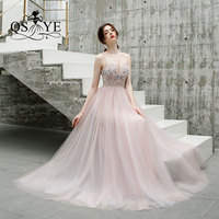 QSYYE 2019 New Arrival Long Prom Dresses Tulle spaghetti strap Beading Top Floor Length Formal Evening Dress Party Gown