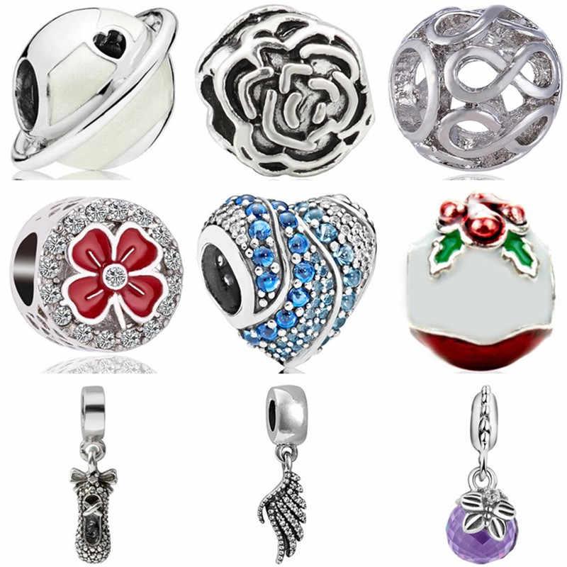 Prosty styl kryształ ciasto planety skrzydła i ślimaki klucz bez krawędzi łańcuch bezpieczeństwa serce koraliki Fit Pandora Charms dla kobiet DIY biżuteria