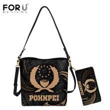 Purse Tribal-Print Polynesian Bucket-Bag Shoulder-Sac-Totes FORUDESIGNS Fashion Women