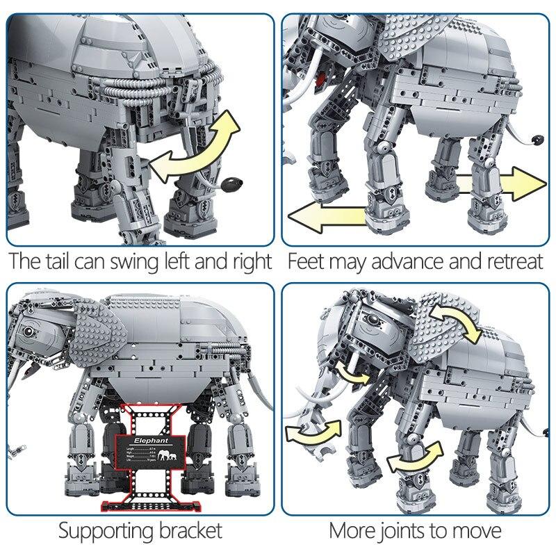 Erbo 1542 Pcs Creative Bouwstenen Fit Lego Technic Rc Afstandsbediening Olifant Dier Elektrische Bricks Speelgoed Voor Kinderen - 5