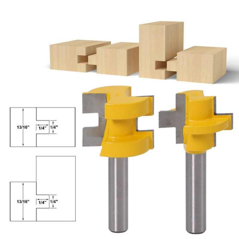 Tongue Groove Router Bit Set 6//8mm 1//4in Shank T-shape Wood Milling Cutter Tool