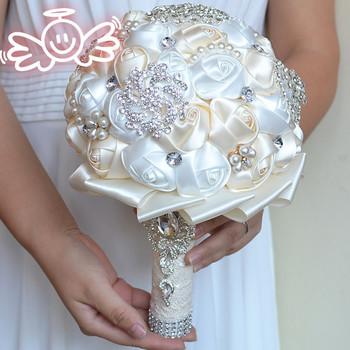 Różany kryształ bukiet ślubny zroszony broszka bukiet akcesoria ślubne druhna sztuczne kwiaty ślubne bukiety ślubne tanie i dobre opinie SHEWG YI DRESS Poliester 24inch BQ08 0 45kg
