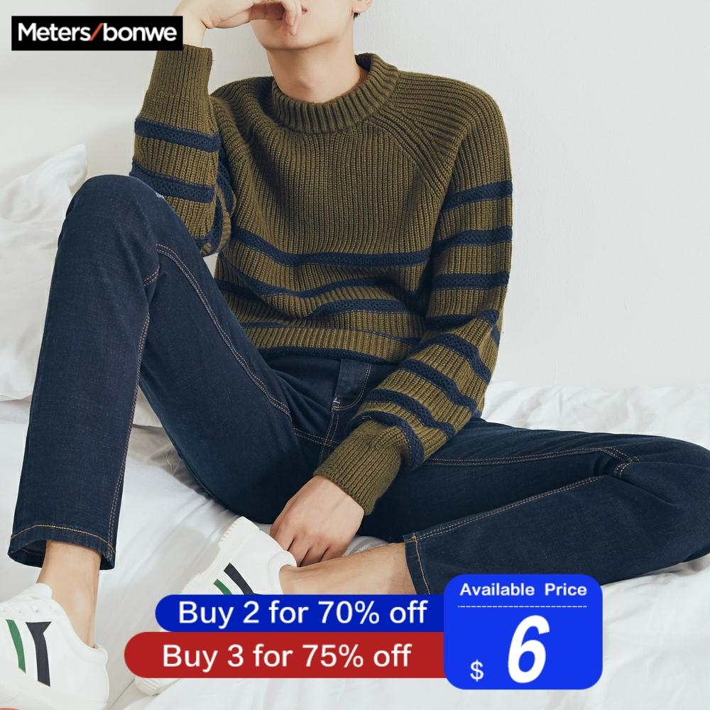 Metersbonwe Straight Jeans Men Casual Hole Design Jeans Autumn Youth Hole Design Trend Slim Jeans Mens Pants Male Trousers