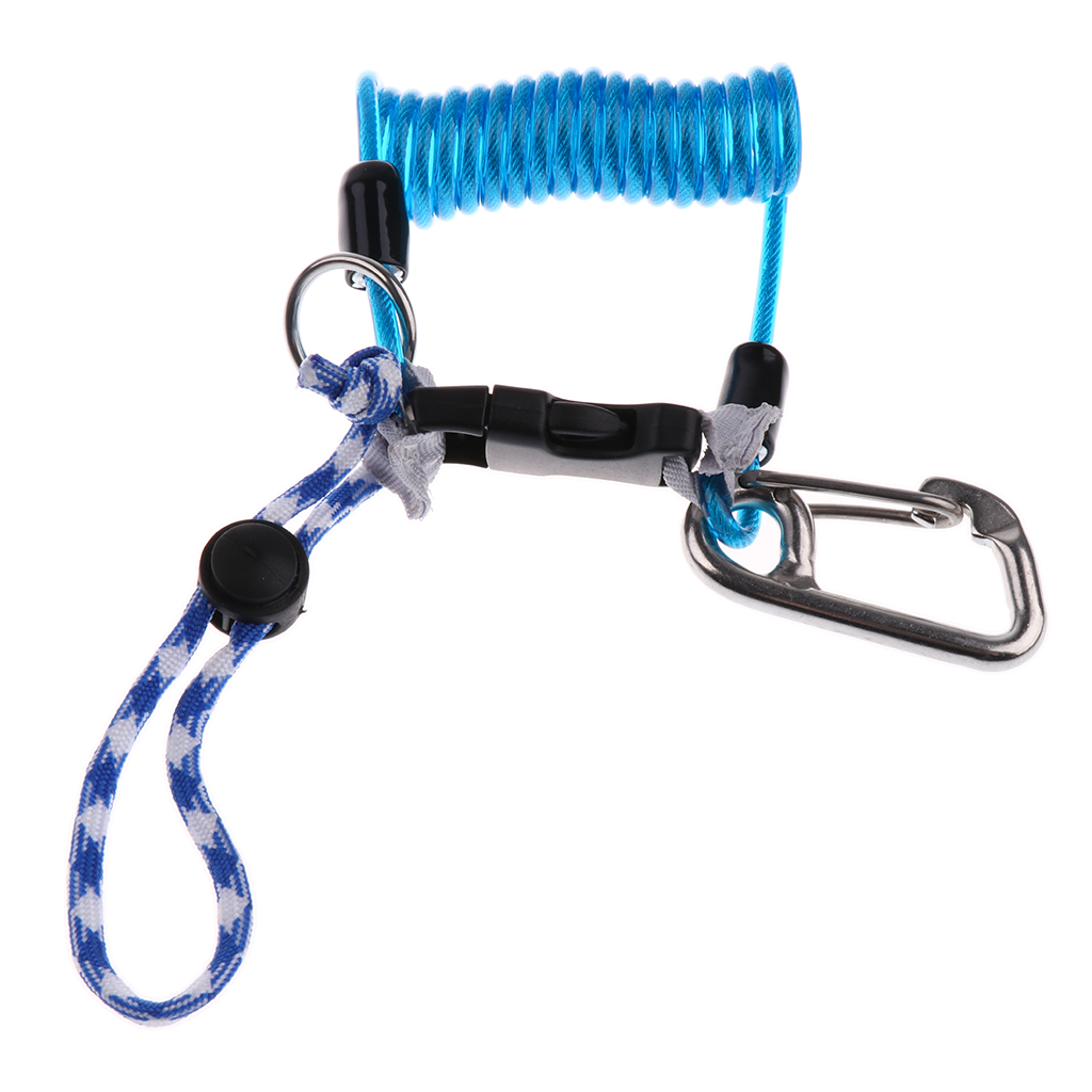Anti-theft Reef DriSnorkeling Sailing Rafting Camera Rope with Spiral Coil Lanyard Quick Release Buckle
