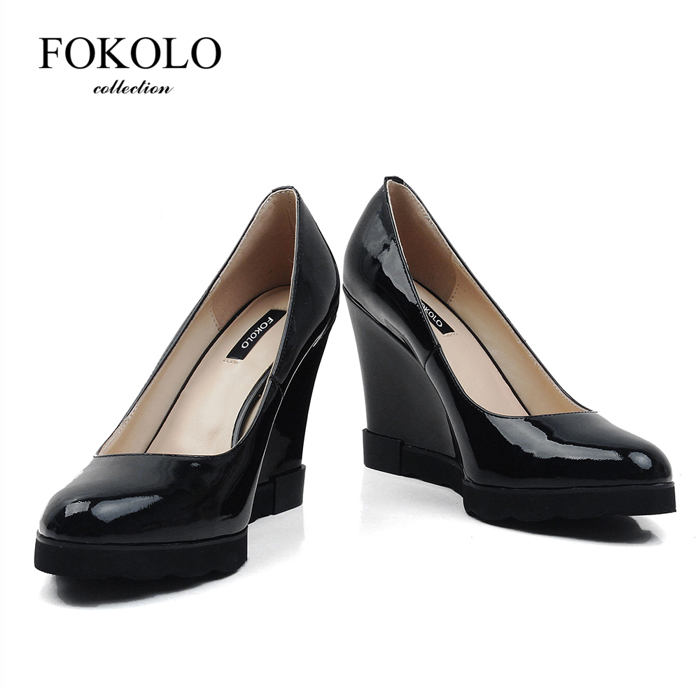 FOKOLO 2020 NEW Pumps Spring Autumn Wedges Shoes For Women Thin Heels Patent Leather Black Fashion Heels Women Tacones Mujer GP1