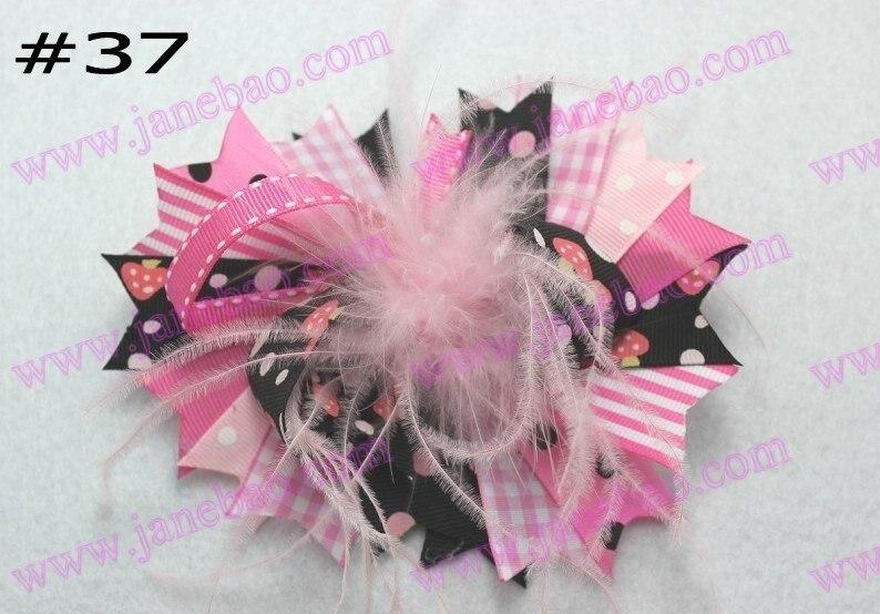 120 шт, новинка, 4,5 дюймов, бант для волос из перьев, модный бутик для девочек, банты для волос с животным принтом, банты из ленты