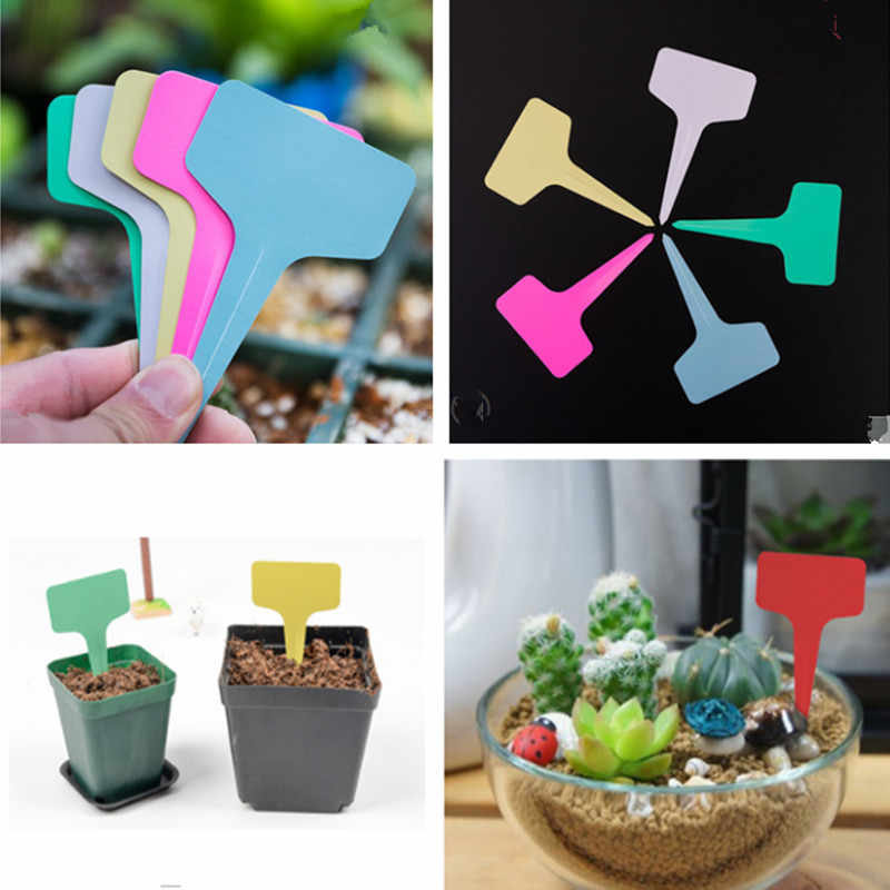 10 pcs New Listing Gardening Label Plastic Insert Plant Labels Ground Inserting Signs Stereo Tags Floral T-labels