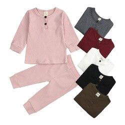 Одежда для маленьких девочек, пижамный комплект из чистого хлопка на весну и осень для мальчиков, однотонная удобная домашняя одежда, пижам...