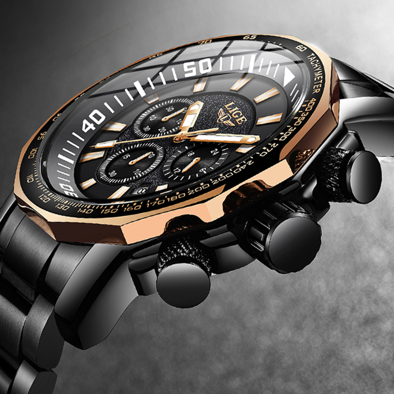2020 LIGE Fashion Business Mens Watches Top Brand Outdoor Sport Quartz Clock Steel Watch Male Military Waterproof Wristwatch Men