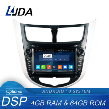 LJDA Android 10 Car DVD Player For Hyundai Solaris accent Verna i25 2 Din Car Radio gps navigation stereo multimedia 4G+64G DSP image