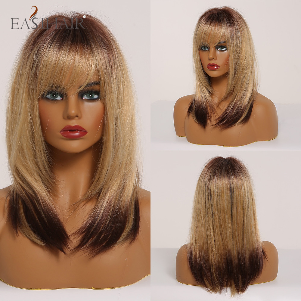 EASIHAIR Medium Length Straight Futura Hairline Wig Ombre Brown Blonde with Highlight Bang Wigs for Women Glueless Synthetic Wig