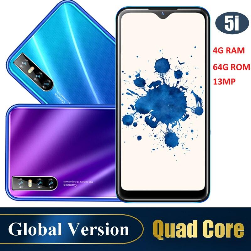 5i смартфон с четырехъядерным процессором, Android, идентификация лица, разблокированный мобильный телефон, 6,26 дюйма, HD, полный экран, две Sim-карт...