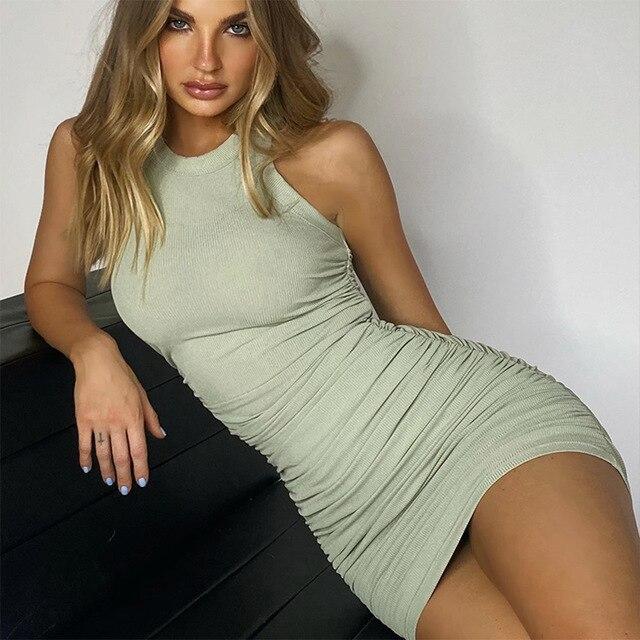 Hirigin Cotton Ruched Drawstring Sexy Dresses Women Sleeveless Elastic Mini Dress Vintage Bodycon Club Wear 2021 Casual Vestidos 5