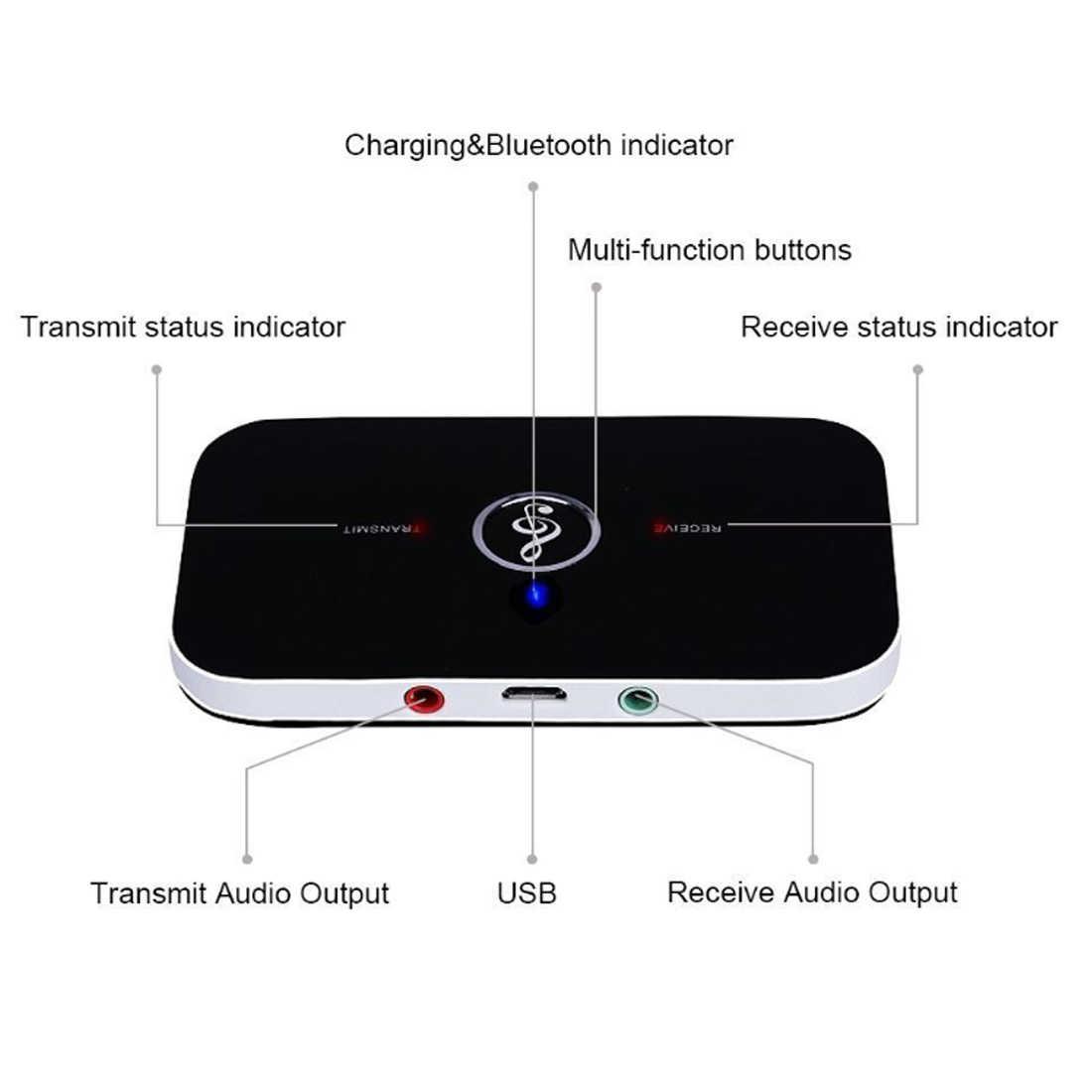 アップグレード B6 bluetooth 5.0 トランスミッタレシーバワイヤレスオーディオ pc の tv vention 3.5 ミリメートル 3.5 aux 音楽受信機送信者