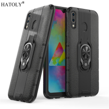 For Samsung Galaxy M20 Case Armor Finger Ring Rubber PC Hard Back Phone