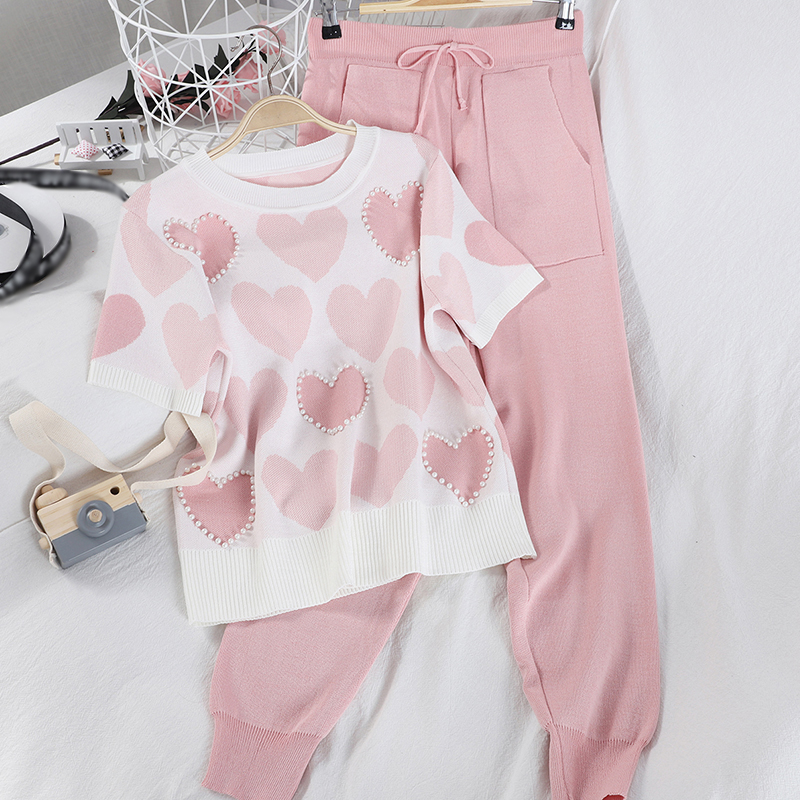 2 Piece Sets Womens Knit Outfits Love Heart Short Sleeve O-neck Tops+ Lace Up Waist Ankle Harem Pants 2020 New