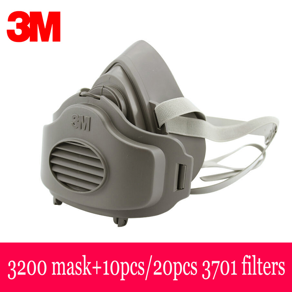 3M 3200 Half Face Dust Gas Mask With 20pcs 3M 3701 Filters Respirator Safety Protective Mask Anti Dust Organic Vapors