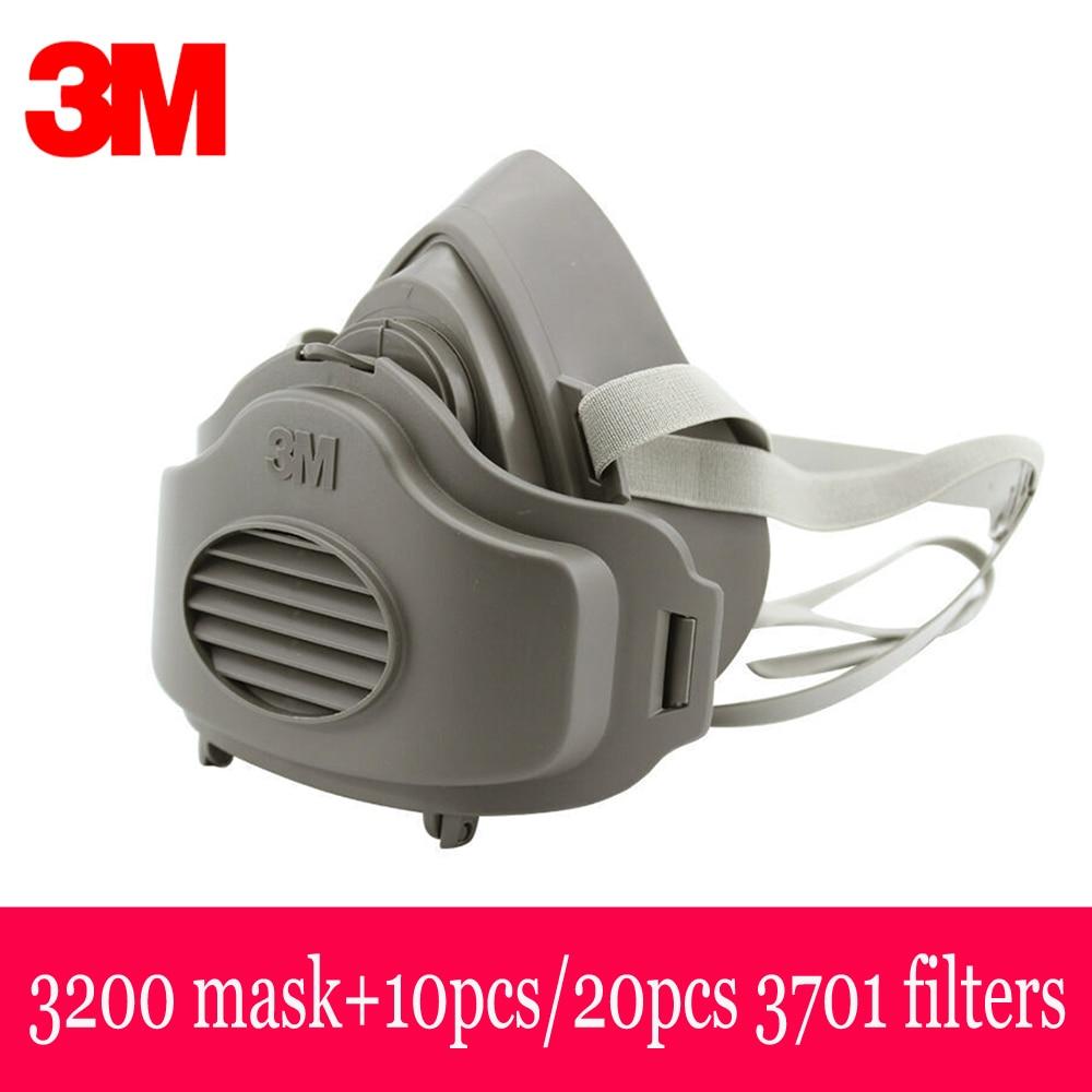 3M 3200-mascarilla de Gas antipolvo con 20 piezas, 3M, 3701 filtros, respirador de seguridad, máscara protectora, vapores orgánicos