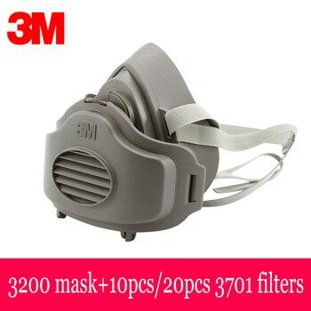 3M 3200 Máscara con 20 piezas 3M 3701 filtros respirador máscara protectora de seguridad antipolvo vapores orgánicos