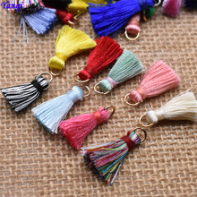20pcs/lot 20mm Mixed color Small Tassel Mini Silky Cotton Thread Fabric Tassel Pendant for Jewelry Making DIY Bracelet Earring(China)