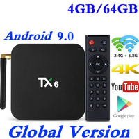 TX6 TV Box Android 9.0 2G/4G 16G/32G/64G Allwinner H6 Quad Core Skype Google Wifi BT4.2 4K Set Top Box Smart Media Player