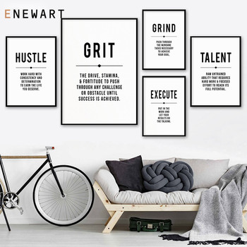 Hustle Quote Grind Definition Office Wall Art Gallery Modern Business Motivational Canvas Decor Inspirational Prints and Posters image