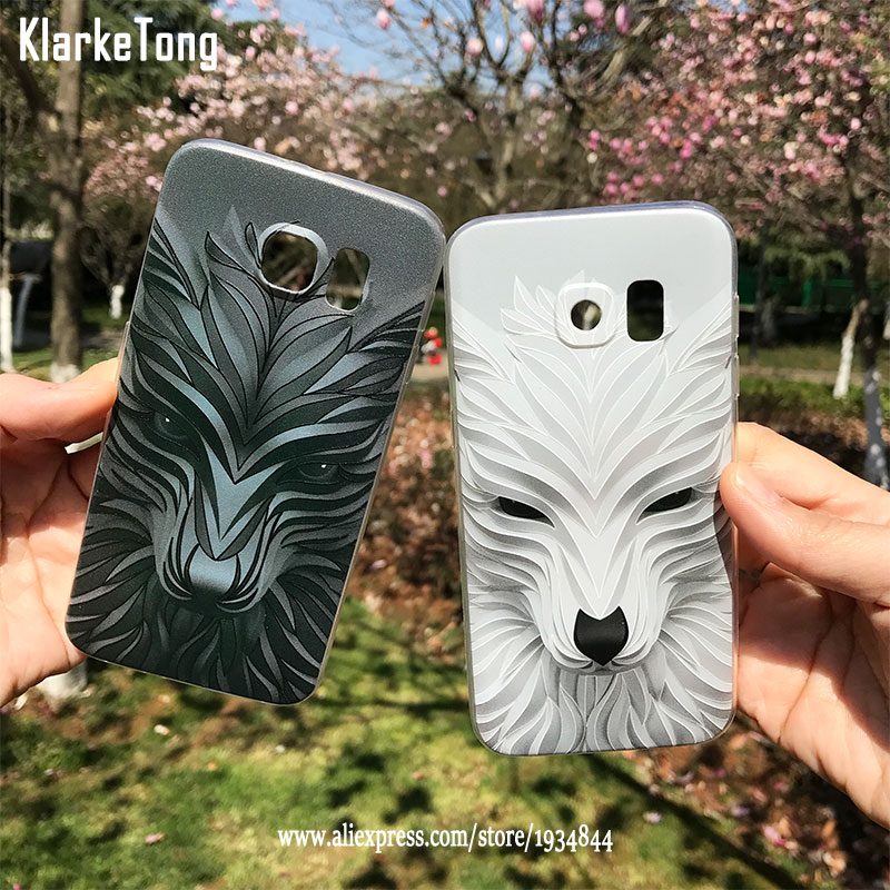 Luxus <font><b>3D</b></font> Relief Tier Telefon Fall Für <font><b>Samsung</b></font> S10 <font><b>Plus</b></font> <font><b>S6</b></font> S7 rand Cartoon Wolf Muster TPU Abdeckung Coque Funda image