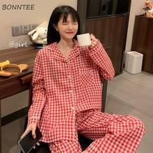 Ensemble pyjama à carreaux manches longues, vêtements de nuit doux pour filles, Kawaii, amples, tendance, quotidien, 2 pièces, Style coréen
