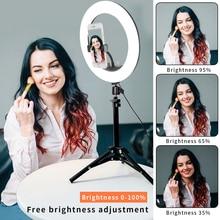 GSKAIWEN 10 في LED للعيش Selfie استوديو ماكياج الجمال فيديو عكس الضوء التصوير مصباح مصمم على شكل حلقة مع ترايبود