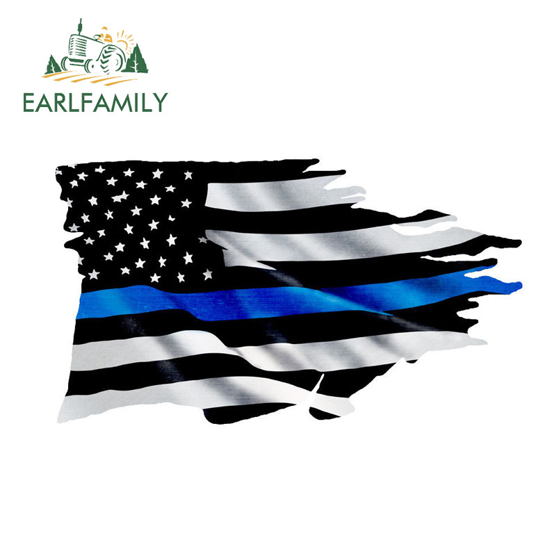 EARLFAMILY 13cm X 7.4cm Thin Blue Line TATTERED Flag Sticker Police USA Vinyl Decal Car Truck Car Styling Accessories