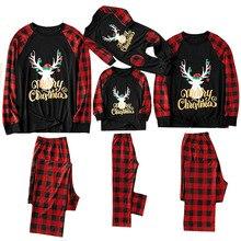 Рождественский семейный пижамный комплект; Рождественская одежда; модная Одинаковая одежда с круглым вырезом и принтом для мамы и папы; Семейные комплекты