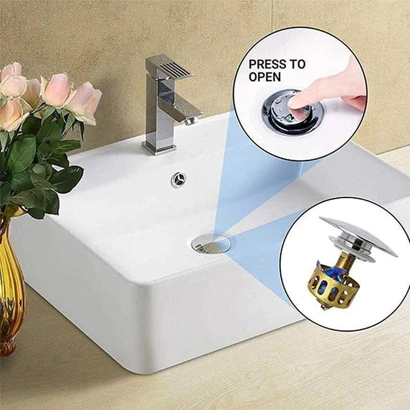 Wash Basin Bounce Drain Filter Pop Up Bathroom Toilet Sink Drain Plug Universal