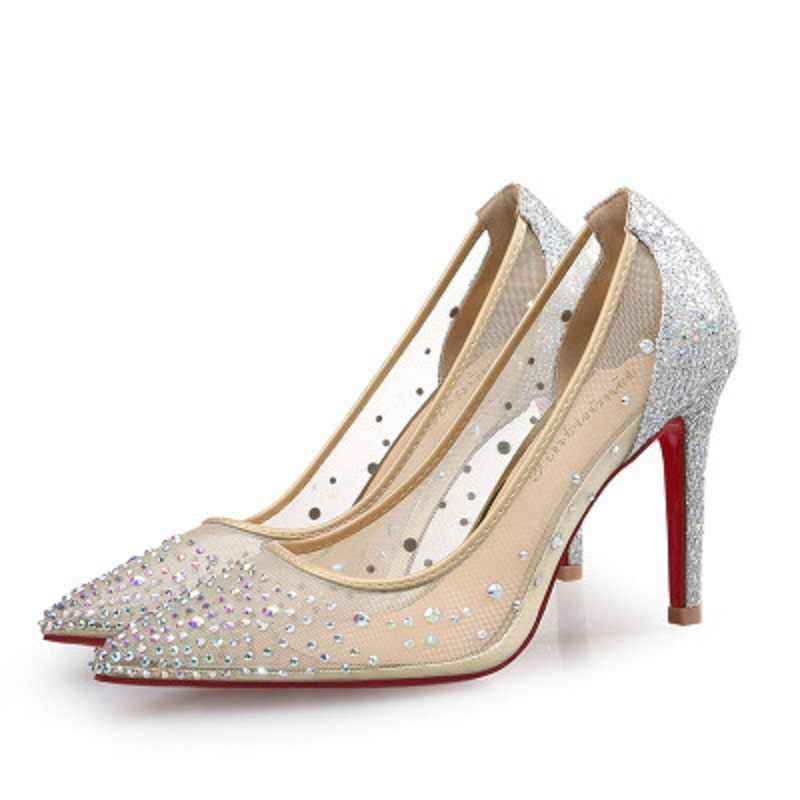 Новинка 2019 года; Серебристые модные дизайнерские женские туфли на высоком каблуке; Летние вечерние свадебные платья со стразами на высоком каблуке