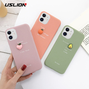 Image 2 - USLION 3D Candy Color Avocado Letter Soft Phone Case For iPhone 11 Pro XS MAX XR X Silicone Case For iPhone 7 6 6S 8 Plus Cover
